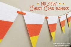 Fall is upon us and what better way to celebrate than with a No Sew Candy Corn Banner across your beautifully decorated mantle! Burp Cloth Tutorial, Hair Bow Tutorial, Skirt Tutorial, Diy Bow, Diy Ribbon, Ribbon Garland, Herringbone Quilt Tutorials, Boutique Bow Tutorial, Ribbon Retreat