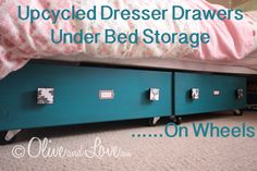upcycled dresser drawers under bed storage. Great to store extra clothes, out of season clothes, play only clothes, dress up/costumes, dance gear, shoes, books, toys, puzzles, you name it!!! Love it!