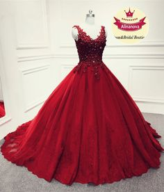 red ball gown tulle v neck lace appliques prom quinceanera dress elegant Burgundy Quinceanera Dresses, Gold Prom Dresses, Prom Dresses Online, Ball Dresses, Wedding Dresses, Princess Prom Dresses, Princess Ball Gowns, Colored Wedding Dress, Affordable Prom Dresses