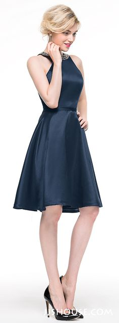 Simple, and contemporary chic. What more could you ask for with this stylish A-Line scoop neck knee-length satin dress! #JJsHouse