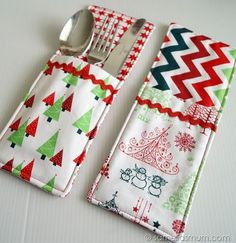 """Welcome to the next instalment of my my Handmade Christmas series. Festive Cutlery Pockets! Super cute and easy to make.   What you need: A. (2) 4 1/2"""" x 10 1/2"""" print fabrics (background) B. (1) 4"""