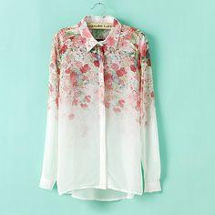 Free shipping 2014 spring new Hot European and American fashion sweet floral print chiffon long-sleeved shirt lapel $17.99
