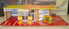VINTAGE METTOY PLAYCRAFT SHELL PETROL SERVICE STATION GARAGE CAR WASH TOY MODEL   eBay