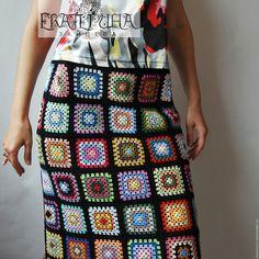 """Купить Юбка """"Дивный сад"""" - комбинированный, абстрактный, Бабушкин квадрат, вязаная юбка, юбка крючком"""