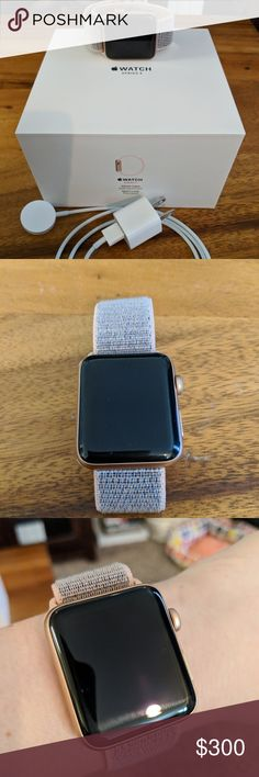 Apple watch series 3 Like new, no scratches, dings, or cracks. Gold aluminum 42mm with pink sand sport loop. Also comes with leather and navy sport loop and protective cover. Comes in original packaging. GPS and cellular enabled. apple Accessories Watches