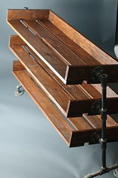 Rustic Wood Shoe Stand with Pipe Legs
