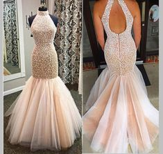 Beaded Crystals Prom Dresses, Formal Dresses, Party Dress, Backless Prom Dresses Custom Made