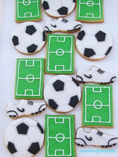 Soccer Birthday Parties, Soccer Party, Sports Party, 10th Birthday, Soccer Cake, Cookie Gifts, Cookie Designs, Cookie Decorating, Party Time