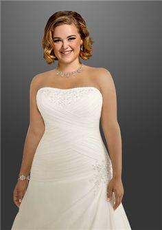 A-Line Strapless Sleeveless Appliques Beading Plus Size Wedding Dress