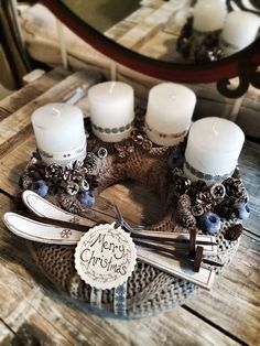 Advent                                                                                                                                                                                 More Advent Wreath Candles, Advent Wreaths, Christmas Advent Wreath, Christmas Candles, Christmas Centerpieces, Christmas 2017, Noel Christmas, Christmas Wreaths, Christmas Decorations For The Home