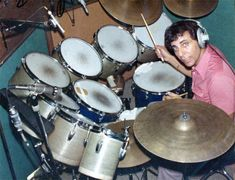 "Hal Blaine is 87 years old today. Here's a pic of Hal behind his ground-breaking ""monster kit"" in the studio, probably late 60s/early 70s. Happy birthday, Hal!"
