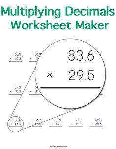 math worksheet : customizable and printable multiplying decimals worksheet maker  : Worksheet Maker Math
