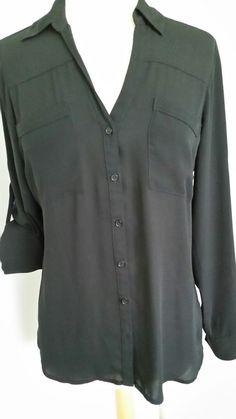 Express Pitch Black Portofino Shirt Blouse Convertible Long Sleeve Sz M EUC #Express #Blouse #CasualPlayWork