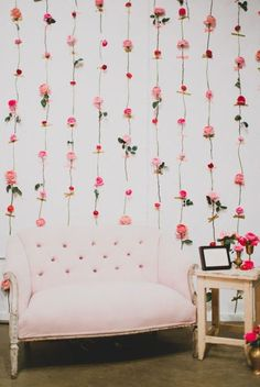 "FLOWER WALL HANGING: A ""photobooth"" at this year's Valentine's Day party is a must. Click through for more Valentine's Day Decorations."