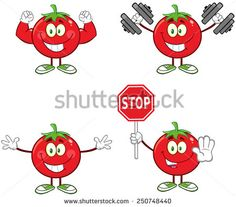 Red Tomato Cartoon Mascot Character Different Interactive Poses 3. Raster Collection Set Isolated On White