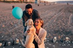 The most amazing puppy proposal on the beach. He made everything so perfect!