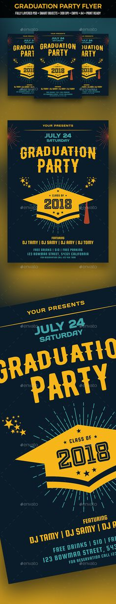 Buy Graduation Flyer by egcrea on GraphicRiver. Fully layered PSD file Easy customizable and editable with smart objects Size with bleed setting CMYK colors 300 D. Event Flyer Templates, Flyer Design Templates, Club Parties, Information Graphics, Graduation Invitations, Party Flyer, Graphic Design Posters, Best Part Of Me, Announcement