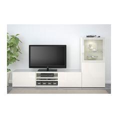 BESTÅ TV storage combination/glass doors - white/Selsviken high gloss/white clear glass, drawer runner, soft-closing - IKEA