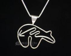 """Navajo Silver Pendant Necklace 20"""""""" - Bear (ij524)"""