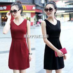 Graceful Women's Sleeveless Dress HD23L Girl's V Neck Slim Fit Dress 7 Colors