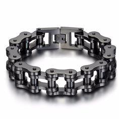 The Mega Stainless Steel Chain Link Bracelet.  #themega #elementsinblack #bracelet #mensbracelet  Big and Heavy for the real Man.