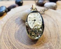 Steampunk Necklace, Steampunk Pendant, jewelry, Vintage antique watch part necklace, resin - Gear Ov Old Watches, Antique Watches, Vintage Watches, Resin Necklace, Glass Necklace, Oval Pendant, Pendant Watch, Steam Punk Jewelry, Sea Glass Jewelry