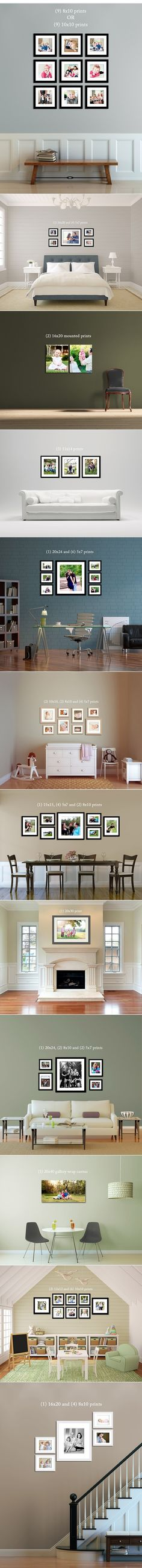 Picture hanging ideas. Clean and organized.