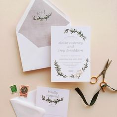 simple wreath wedding invitation