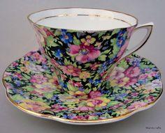 Rosina UK Teacup & Saucer Set Chintz 5061 Tapestry Black Floral 1950s Bone China #Rosina