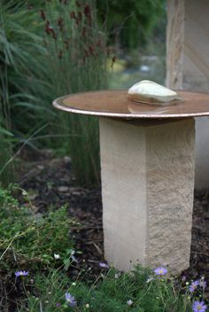 'The Mini' - Spun Copper Birdbath and Sandstone plinth by Mallee Design