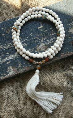 Beautiful magnesite gemstone mala necklace - look4treasures on Etsy, $62.95
