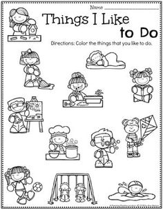 All About Me Activities - Planning Playtime - Preschool Worksheets All About Me Theme – Things I Like to Do - Preschool Lessons, Preschool Classroom, Preschool Learning, Kindergarten Worksheets, Preschool Activities, All About Me Activities, All About Me Preschool Theme, All About Me Crafts, Crafts For Kids