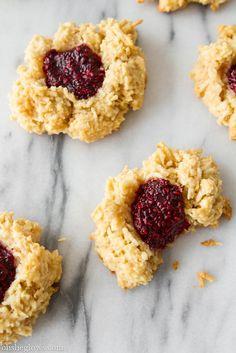 Coconut Macaroon Thumbprints with Raspberry Chia Seed Jam (Vegan + GF) #OhSheGlows
