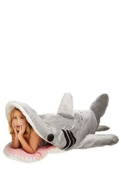 Sea-nic Adventures Sleeping Bag in Great White Shark. Make a splash at your next seaside campout with this shark sleeping bag! #grey #modcloth