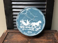 2 Available Vintage Holiday Tin Christmas Horse Drawn Sleigh Tin Storage Box Shirley Jean Fruit Cake Tin Collectible Tin I Ship Worldwide