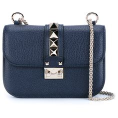 Valentino Rockstud Shoulder Bag (19.632.280 IDR) ❤ liked on Polyvore featuring bags, handbags, shoulder bags, evening purse, valentino purses, genuine leather handbags, blue leather purse and blue evening purse