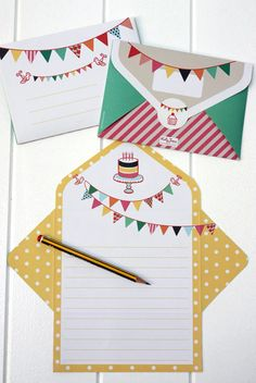 Bunting, Cake & Party Letter Writing Pad  http://www.katyjane.com.au/html/letter_writing_pad.htm#
