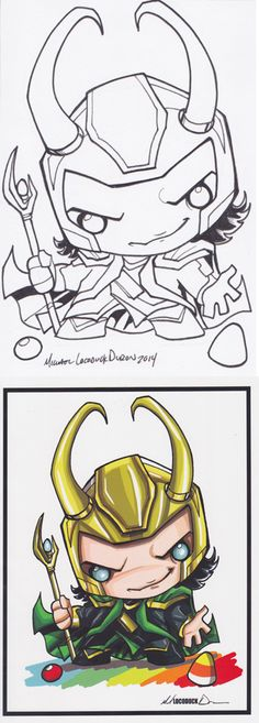 "ORIGINAL ART: ""Loki"" by Michael ""Locoduck"" Duran - both the original 4X6 ink drawing *and* the finished 8.5X11 print, both signed"