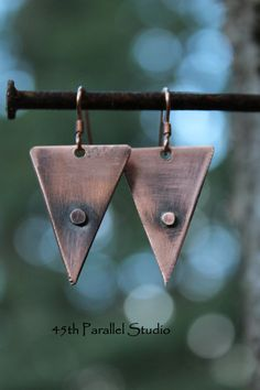 Rustic Triangle Copper Earrings by 45thParallelStudio