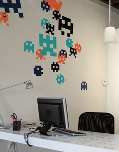 Blik unique wall decals are a fun and creative way to brighten up any room in the house. Browse our selection of wall stickers for sale online. Gadgets, Pixel Art, Wall Stickers, Wall Decals, Wall Décor, Deco Gamer, Gaming Wall Art, Free Desktop Wallpaper, Wallpaper Downloads