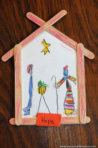 Recreate the story of baby Jesus in the manger with this charming Christmas craft for kids! The Popsicle Stick Nativity Scene would be great for church groups. | AllFreeKidsCrafts.com