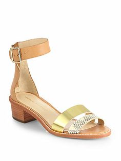 Loeffler Randall Henry Mixed Media Ankle-Strap Sandals
