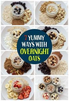 7 Yummy Ways with Overnight Oats. This is such a delicious healthy breakfast! Healthy, tasty, breakfast in a jar! #DietBreakfast,