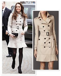 Kate Middleton's Trench Coat . . . Her's is Burberry . . . Hopefully there will be something similar in the stores soon.