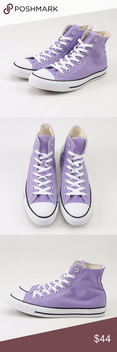 Converse CT Frozen Lilac High Tops // Size M9 W11 Kick back in these Converse All Star high-top shoes Padded footbed offers lasting comfort Classic canvas upper & lining Signature Chuck Taylor design including the famous rubber cap toe Rubber, fabric outsole Men's Size 9 = Women's Size 11  Photos show all details, so look over thoroughly. These are brand new in the original box! #26WKSD // Converse // Chuck Taylors // All Star // High Top // Frozen Lilac Converse Shoes Sneakers