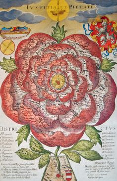"Rose-Shaped Map of Bohemia (1677)  ""A map shows Bohemia as a stylised Hapsburg rose. The stem connects the flowering Bohemian rose to the fertile soil of Vienna, the Habsburg's political centre. The Latin text at the bottom explains: ""There grew a graceful Rose in the Bohemian woods, and an armoured lion standing guard next to her. That Rose had grown out of the blood of Mars, not of Venus. Do not fear, lovely Rose! There comes the Austrian. The Rose of Bohemia, bloody for all the…"