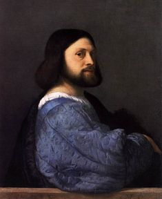 TIZIANO Vecellio Man with the Blue Sleeve c. 1510 Oil on canvas, 85 x 70 cm National Gallery, London