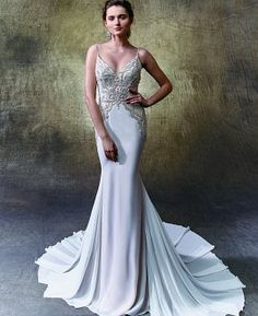 Vintage + glam wedding dress - this full-length mermaid stunner is sophisticated and sexy with a deep V-neckline on a bodice of delicately beaded Chantilly lace, GT chiffon and thin beaded spaghetti straps. Style Laurie by Wedding Bridesmaid Dresses, Bridal Dresses, Wedding Gowns, Happy Brautmoden, Hollywood Glamour Wedding, Mermaid Gown, Elegant Wedding Dress, Beautiful Gowns, Boyfriends