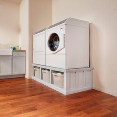 How to Build a Laundry Room Pedestal Washer And Dryer Pedestal, Laundry Room Pedestal, Laundry Room Storage, Laundry Room Design, Ikea Laundry Room, Laundry Closet, Small Laundry, Garage Laundry Rooms, Kitchen Storage