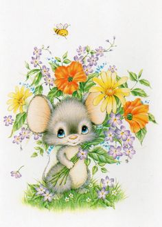 Little mouse with flowers